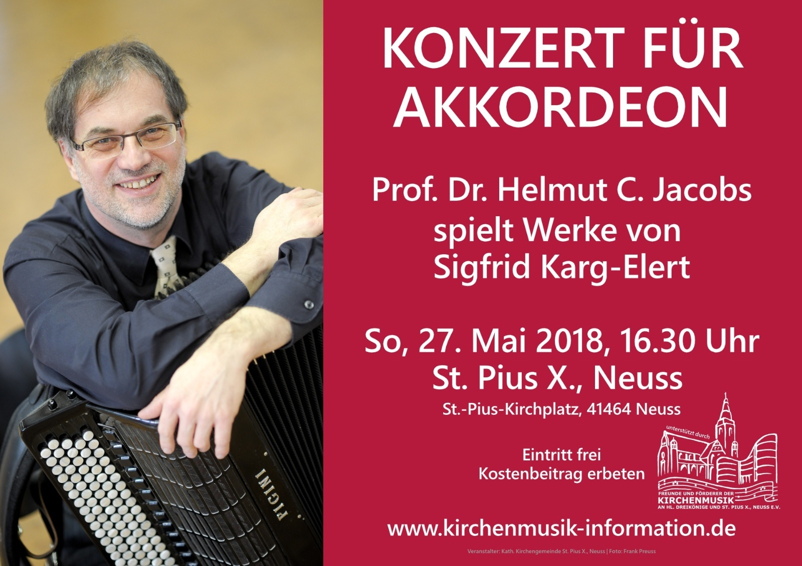 Konzert für Akkordeon am 27. Mai 2018 in St. Pius